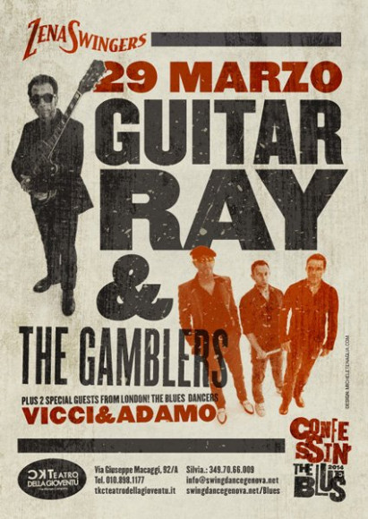 Guitar Ray and the Gamblers - Vintage poster