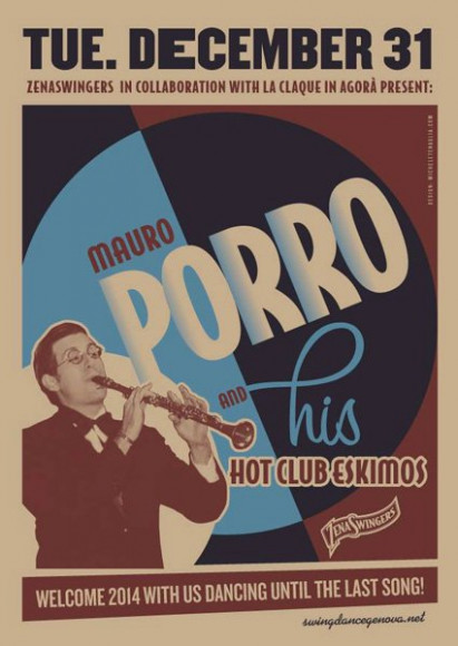 Mauro Porro and his Hot Club Eskimos - Vintage poster